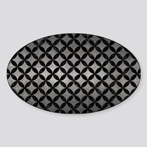 CIRCLES3 BLACK MARBLE & GRAY METAL Sticker (Oval)