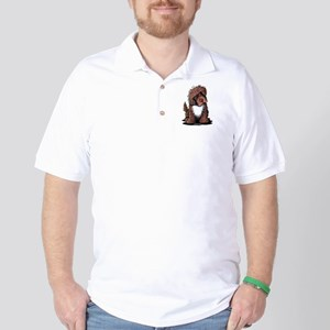 Brown & White Newfie Golf Shirt