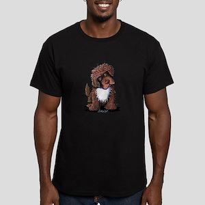 Brown & White Newfie Men's Fitted T-Shirt (dark)