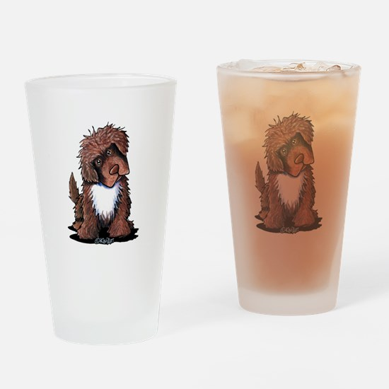 Brown & White Newfie Drinking Glass