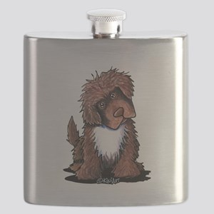 Brown & White Newfie Flask