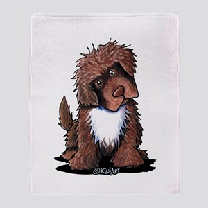 Brown & White Newfie Throw Blanket