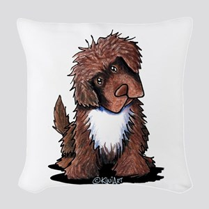 Brown & White Newfie Woven Throw Pillow