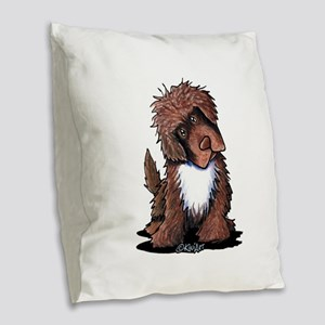 Brown & White Newfie Burlap Throw Pillow