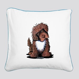 Brown & White Newfie Square Canvas Pillow