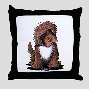 Brown & White Newfie Throw Pillow