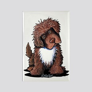 Brown & White Newfie Rectangle Magnet