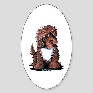 Brown & White Newfie Sticker (Oval)