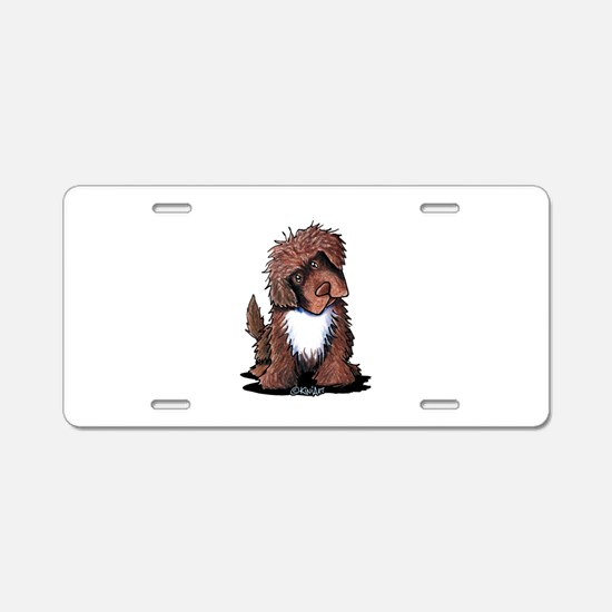Brown & White Newfie Aluminum License Plate
