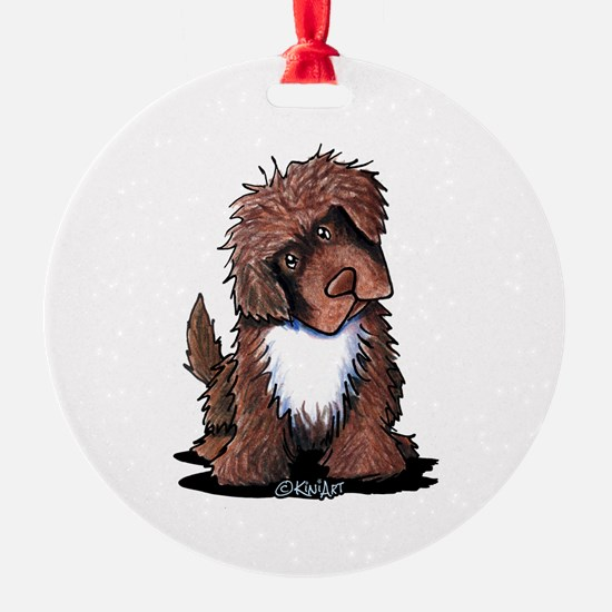 Brown & White Newfie Round Ornament