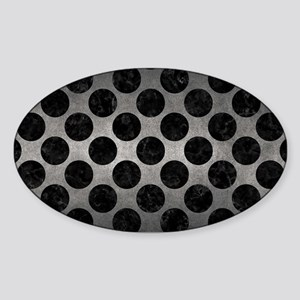CIRCLES2 BLACK MARBLE & GRAY METAL Sticker (Oval)