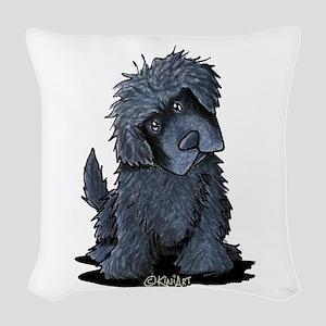 Black Newfie Woven Throw Pillow