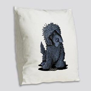 Black Newfie Burlap Throw Pillow