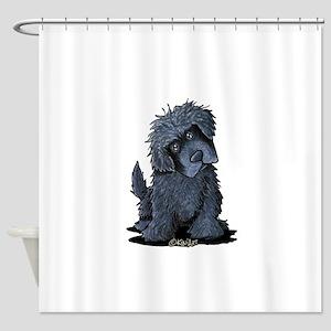 Black Newfie Shower Curtain