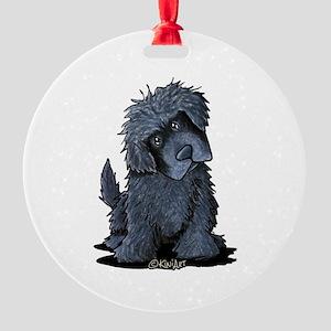 Black Newfie Round Ornament