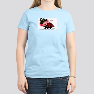 Women's Pink T-Shirt/Big Eyed Ladybug/Flower