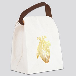 Anatomical Heart - Gold Canvas Lunch Bag