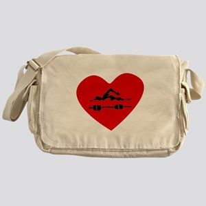 Swimmer Heart Messenger Bag
