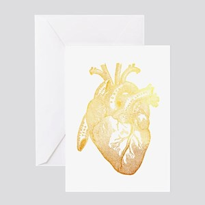 Anatomical Heart - Gold Greeting Cards