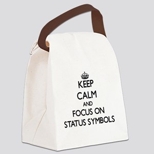 Keep Calm and focus on Status Sym Canvas Lunch Bag