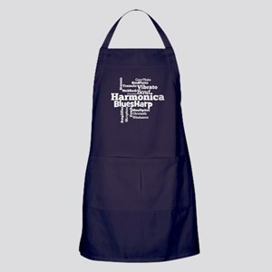 Harmonica Word Cloud Apron (dark)