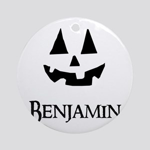 Benjamin Halloween Pumpkin face Ornament (Round)