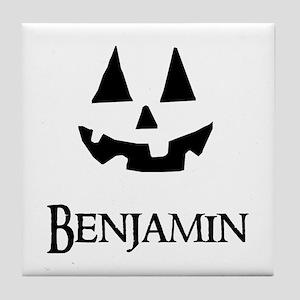 Benjamin Halloween Pumpkin face Tile Coaster