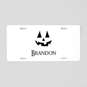 Brandon Halloween Pumpkin face Aluminum License Pl