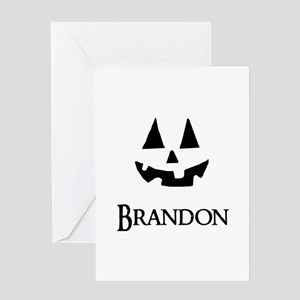 Brandon Halloween Pumpkin face Greeting Cards