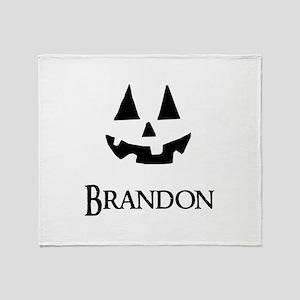 Brandon Halloween Pumpkin face Throw Blanket