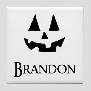 Brandon Halloween Pumpkin face Tile Coaster