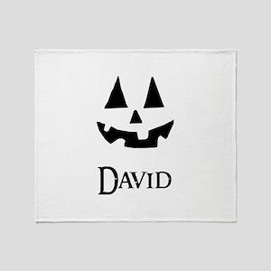 David Halloween Pumpkin face Throw Blanket