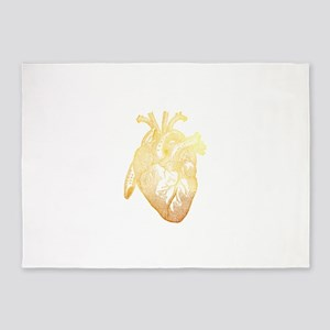 Anatomical Heart - Gold 5'x7'Area Rug