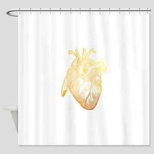Anatomical Heart - Gold Shower Curtain