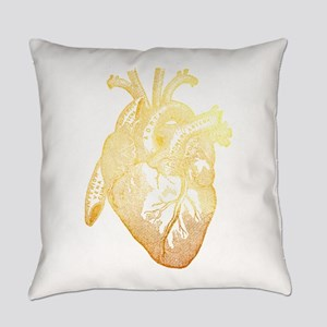 Anatomical Heart - Gold Everyday Pillow