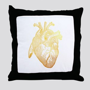 Anatomical Heart - Gold Throw Pillow