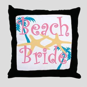 beachbride2pink Throw Pillow