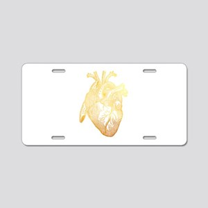 Anatomical Heart - Gold Aluminum License Plate