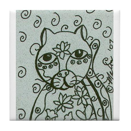 Cat with Lotus Tattoos Tile Coaster