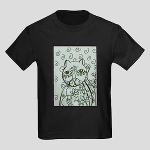 Cat with Lotus Tattoos Kids Dark T-Shirt