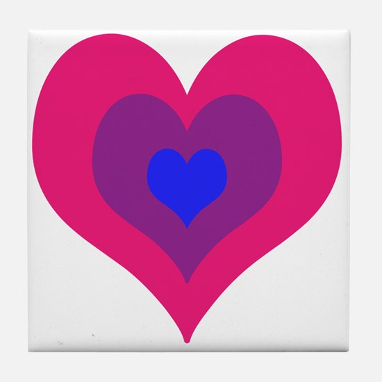 Bisexual Hearts Stacking Tile Coaster