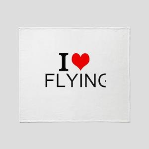 I Love Flying Throw Blanket