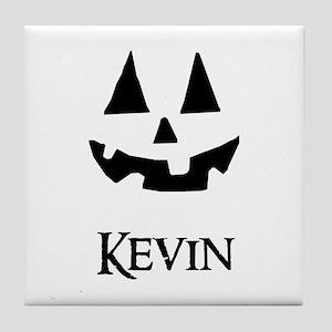 Kevin Halloween Pumpkin face Tile Coaster