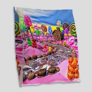 Pink Candyland Burlap Throw Pillow