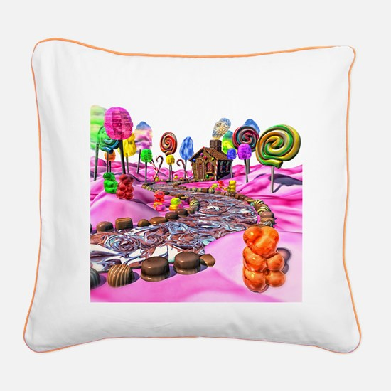 Pink Candyland Square Canvas Pillow