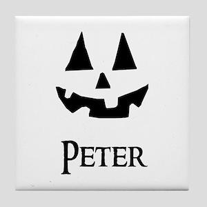 Peter Halloween Pumpkin face Tile Coaster