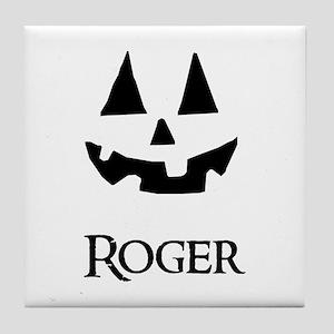 Roger Halloween Pumpkin face Tile Coaster