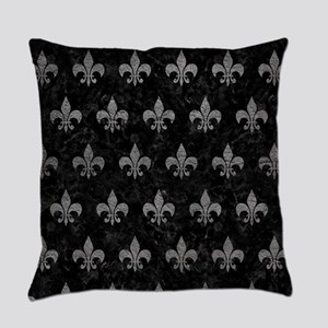 ROYAL1 BLACK MARBLE & GRAY LEATHER Everyday Pillow
