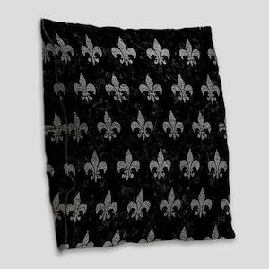 ROYAL1 BLACK MARBLE & GRAY LEA Burlap Throw Pillow
