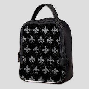 ROYAL1 BLACK MARBLE & GRAY LEAT Neoprene Lunch Bag